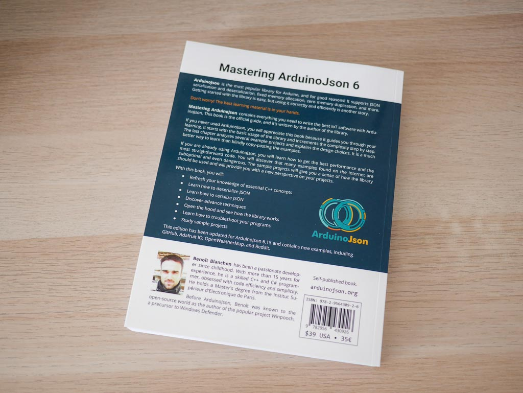 Mastering ArduinoJson 6 Second Edition, paperback: back cover